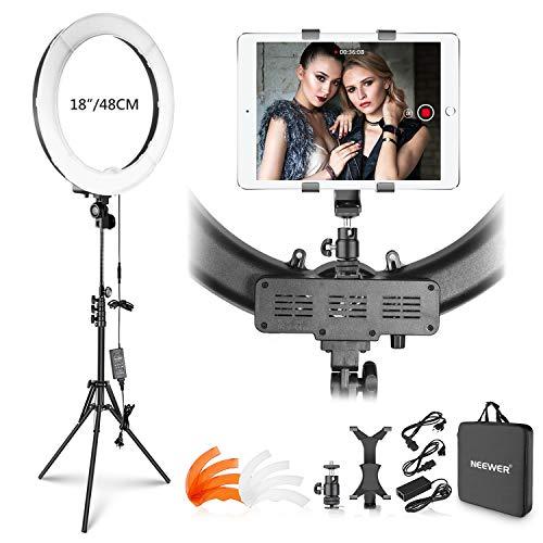 Neewer Kit Luz Anillo: 48cm 55W 5500K Luz Anillo LED Regulable con Soporte Luz iPad Abrazadera Tubo Blando Color Filtro Bolsa Transporte para Youtube Selfie Maquillaje Peluquería