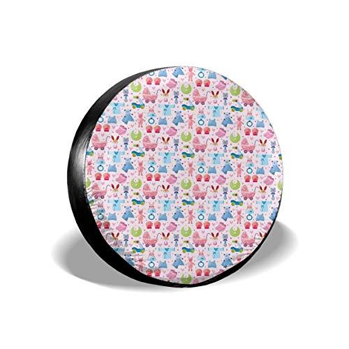 Drew Tours Reifenabdeckung Reifenabdeckung Radkappen, niedliches Spielzeug kindisch Teddybär Kaninchen Hase Geburtstag Mädchen fröhliches Design, für SUV Truck 15inch