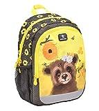 Belmil Kindergartenrucksack mit Brustgurt und Namensschild für 3-6 Jährige/Mädchen / 12 L/Krippenrucksack Kindergartentasche Kindertasche/Bär/Gelb, Schwarz (305-4/A Animal Forest Bear)