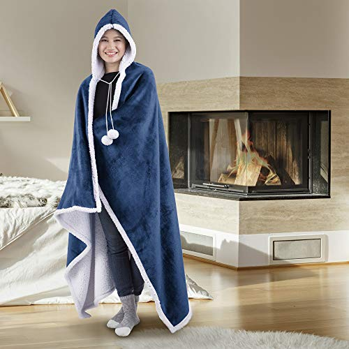 Safdie & Co. Hooded Blanket Throw Wearable Cuddle 100% Polyester China Blue