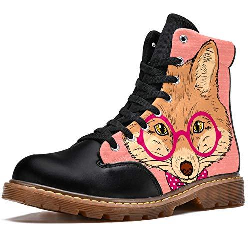 Anmarco Botas de invierno para mujer lindos zorro hipster con gafas de lazo estampado alta parte superior de encaje clásico de lona zapatos de escuela, color Multicolor, talla 40.5 EU
