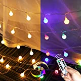 Mini Globe String Lights with 2 Colors: 33 Ft 100 LED Ball Lights Plug in | USB & Power Adapter & Remote | Decor for Bedroom Wall Christmas Tree Indoor Outdoor Wedding | Warm White + Multicolored