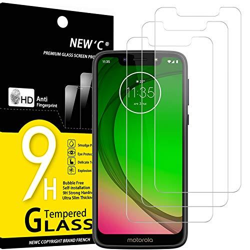 NEW'C 3 Unidades, Protector de Pantalla para Motorola Moto G7 Play, Antiarañazos, Antihuellas, Sin Burbujas, Dureza 9H, 0.33 mm Ultra Transparente, Vidrio Templado Ultra Resistente