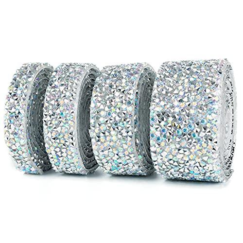 Self Adhesive Crystal Rhinestone Ribbon Bling Wrap Diamond Ribbon Rhinestone Sheets DIY Crafts Diamond Wrap for Cloth, Wedding, Cake, Phone, Birthday, Car Decorations (Sliver, 4 Rolls)