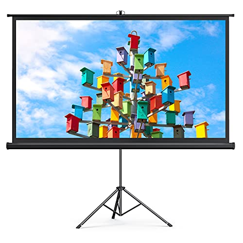 Projector Screen with Stand, HYZ 120 inch Projector Screen 4K HD with Wrinkle-Free Design, Outdoor...