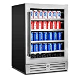 Beverage Refrigerator 24 inch Stainless Steel Shelf System 154 Cans and 3 Bottles Built-in or Freestanding for Soda Beer, Powerful Drink with Smart Control System and Double-Layer Glass Door