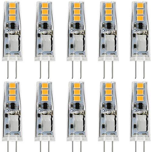 JAUHOFOGEI 10piezas 1W Bombilla lámpara Mini LED G4, 12V AC DC, Equivalente a 10W Halógena, 120lm Blanco cálido 2800K, Ra80, Non-Regulable, Lámpara de techo de muebles de foco empotrable