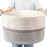 INDRESSME Groß Wäschekorb Baumwolle Seil Korb für Decken Kissen im Wohnzimmer Aufbewahrungskorb für Spielzeug im Kinderzimmer, 55 x 35 cm (D x H)