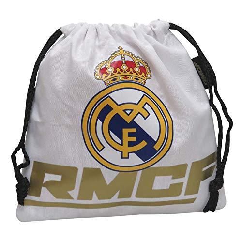 Real Madrid Saco de merienda Bolsa de Gimnasio Fitness y Ejercicio Infantil, Juventud Unisex, Multicolor (Multicolor), Talla Única