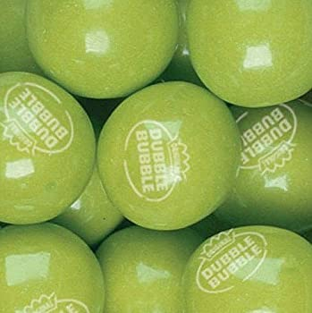 Dubble Bubble Green Apple 24mm Gumballs 1 Inch 1 Pound Approximately 55 Gum Balls.
