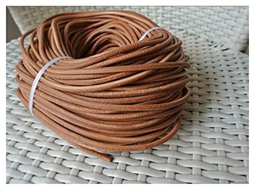 Cuerda de Piel de Vaca de 4 mm de diámetro Cable de Cuero Redondo Cuchillo Cuchillo Cuerda Cuerda Manija Mano - Color Natural