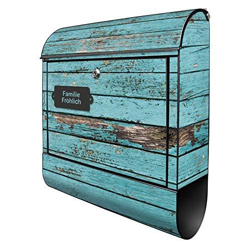 Banjado Design Briefkasten personalisiert mit Motiv Blaue Holzlatten | Stahl pulverbeschichtet mit Zeitungsrolle | Größe 39x47x14cm, 2 Schlüssel, A4 Einwurf, inkl. Montagematerial
