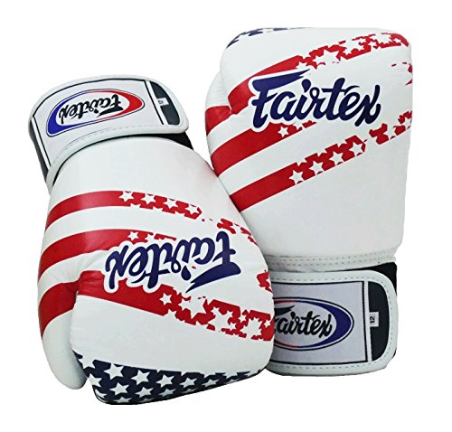 Fairtex Muay Thai Boxhandschuhe BGV1 Limited Edition - USA Flag Size: 10 12 14 16 oz Training & Sparring All Purpose Gloves for Kick Boxing MMA K1 Tight Fit Design (USA Flag, 12 oz)