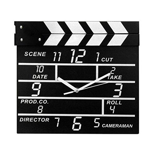 Wanduhr Regieklappe Filmset Uhr modern, geräuscharm, großes Ziffernblatt geeignet für Küche schwarz Notizblockuhr LuckyGirls