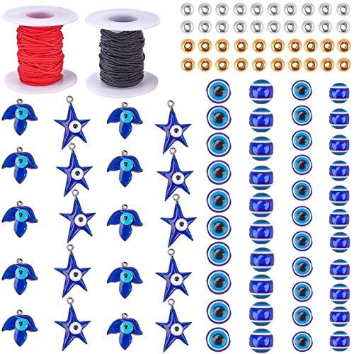 SUNNYCLUE 210Pcs+ Evil Eye Charm Set 150Pcs Evil Eye Beads Evil Eye Pendant with Leaf Star & 2 Rolls Nylon Thread & 40pcs Spacer Beads for DIY Jewelry Craft Making
