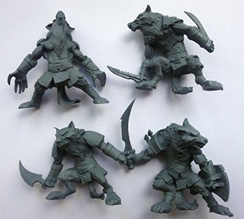 Fantasy Battles Werewolf Set 54 mm 1/32 - 4 Fantasy Figures Tehnolog Russian Toy Soldiers DND miniatures