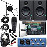 "Presonus AudioBox 96 Audio Interface (May Vary Blue or Black) Full Studio Bundle with Studio One Artist Software Pack w/Eris 3.5 Pair Studio Monitors and 1/4"" TRS to TRS Instrument Cable"
