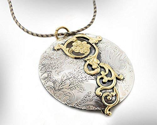 Handmade Statement Sale Al sold out. special price Pendant Necklace 9k S and Gold Vintage Style