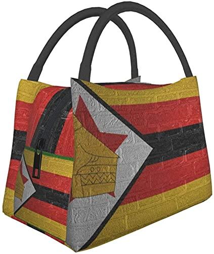 Multifuncional De La Cremallera Del Paquete Para La Escuela De La Oficina De Trabajo,La Bandera De Zimbabwe Bolsa De Almuerzo De La Caja De Almuerzo De La Comida De La Bolsa De Portátil Bolsa Aislante