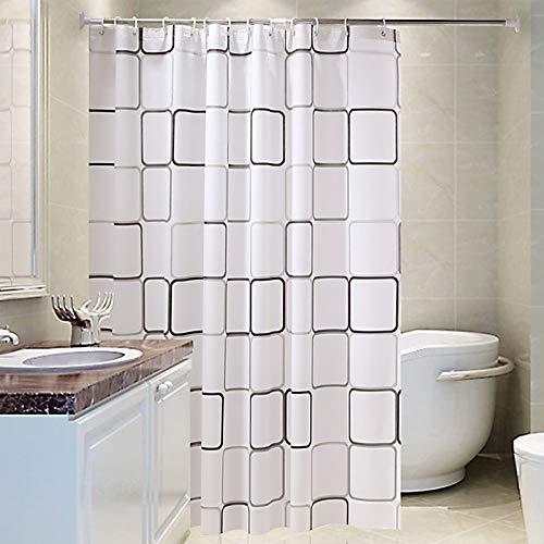Yemiany Badezimmer Duschvorhang,Badezimmer Gardinen,Wasserdichte Badezimmervorhänge aus mit Formwiderstandsfähigkeit,Wannenvorhang mit 8-teiligen Haken für Badezimmer(quadratischer Druck,100 x 180cm)