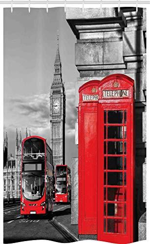 ABAKUHAUS Europa Schmaler Duschvorhang, London Retro Handyzelle, Badezimmer Deko Set aus Stoff mit Haken, 120 x 180 cm, Rotes Grau