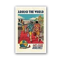 フランスのDJバンド航空ヴィンテージポスター世界一周プリントキャンバス壁の装飾レトロな絵キャンバス絵画壁アート装飾50x70cmフレームレス