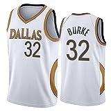 GPUI Jersey de Baloncesto para Hombres, Mavericks 32# Burke 2020/2021 Temporada City Edition Jersey, Camiseta Deportiva sin Mangas Transpirable de Ocio (S-2XL) L