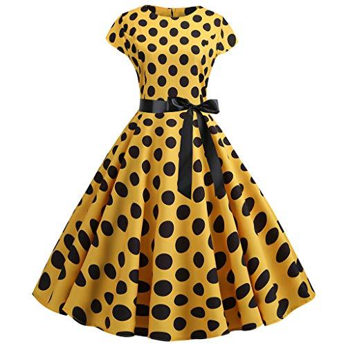 Cardith Damen 50er Vintage Retro Cap Sleeves Rockabilly Kleider Hepburn Stil Cocktailkleider