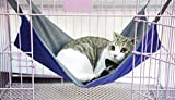 Heavy-duty Reversible Pet Cat Travel Hammock 2in1 Summer Waterproof Oxford & Winter Warm Fleece Kitten Puppy Hanging Cage Chair Comforter Cozy Hammock Bed Pad Cradle Crib Basket Cushion Mat,5338cm