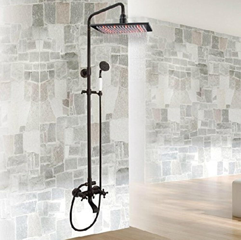 Luxurious shower Dual Kreuzgriffe 12  LED-Farbe regenduschkopf Badewanne Dusche Wasserhahn eingerichtet Dusche Mischbatterien l eingerieben Bronze, Schwarz