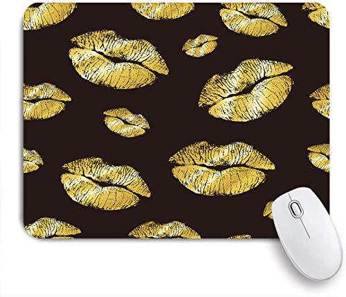 SUHOM Gaming Mouse Pad Rutschfeste Gummibasis,Lippenstift Gold Kuss,für Computer Laptop Office Desk,240 x 200mm