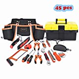 Mysterystone 45 Pieces kids real tool set Construction Tool Set for Kids with tool belt,hand tools,safety gogles,solid tool box–Kids Learning Tool Kit for Home DIY and Woodworking, Great Gift Tool kit