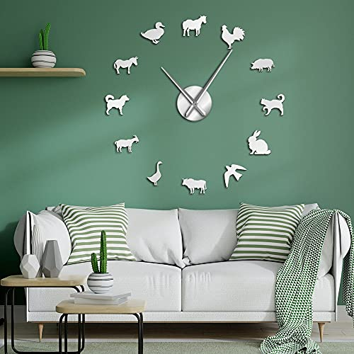 Reloj de pared grande sin marco para decoración de guardería, diseño de animales de granero, granero, cocina, diseño de granero, sin marco, color plateado