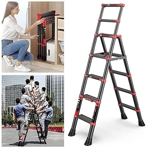 MAG.AL Antideslizante Caucho Pies Plegable Escalera con Pretil y Cerrar con Llave Portátil Plegable Escalera Extensible Capacidad Carga Maxima 150 kg / 330 Libras