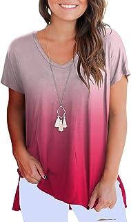 fe12002b6e Dasbayla Women's Solid Loose Short Sleeve V Neck T-Shirt Top Side Split  High Low