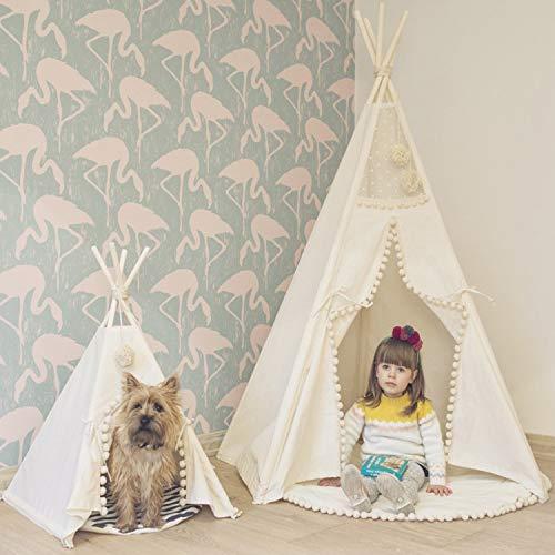 flmflmd INS heiß weißen Haarball Spitze Kinder Zelt indische Spielhaus Eltern-Kind-Spielzeug kleine Zelt Großhandel. Fünf-Eck-Zelt einseitig 110CM x 150CM.