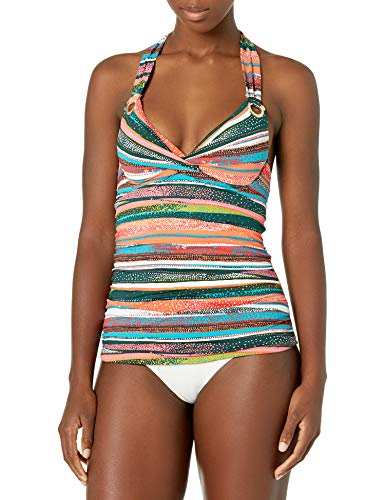 Anne Cole Women's Twist Front Underwire Cup Sized Tankini Swim Top, Sand Stripe, 40B/38C