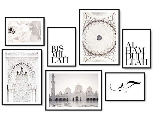 Hyggelig Home Premium Poster Set - 7 islamische Bilder im stilvollen Set - Bild Wand Deko - 3 x DIN A3 + 4 x DIN A4 - Set Islamic ohne Rahmen