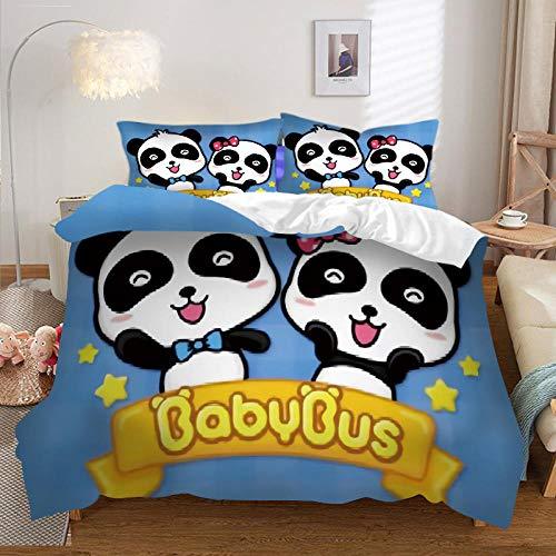 KIrSv 3D Panda Funda nórdica Juego de Cama Funda de edredón Funda de Almohada con Estampado de niño King,Twin Queen King Size Textiles para el hogar-N-022_264*228cm(3pcs)