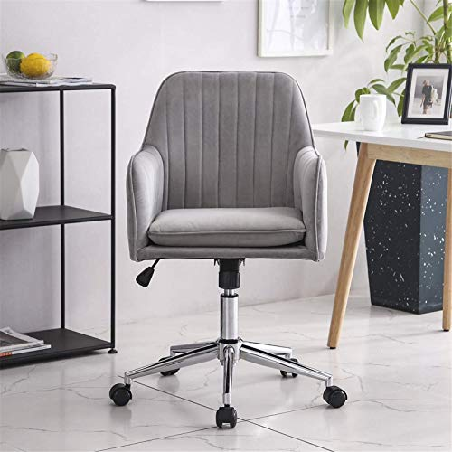TUHFG Sillones reclinables de tela de terciopelo aplastado azul para el hogar y la oficina, altura giratoria, ergonómicas, para escritorio, sillas de recepción (color: gris)