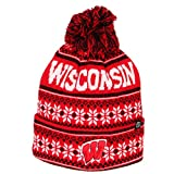 NCAA Zephyr Wisconsin Badgers Mens Blitzen Cuffed Pom Knit Beanie, One Size Fits Most, Team Color