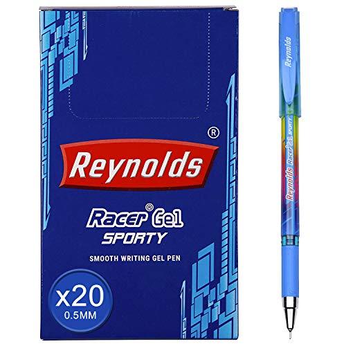 Reynolds Racer Gel Sporty Gel Pen | Needle Point (0.5mm) | Blue Ink | 20 Count