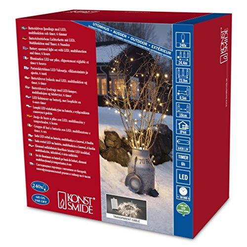 Konstsmide julbelysning LED 240 dioder varm vit/utomhus eller inomhus (IP44)/batteridriven: 4XD 1,5 V (exkl.)/6 H Timer/8 funktioner, kontrollenhet och minnesfunktion/genomskinliga kabelljusslingor