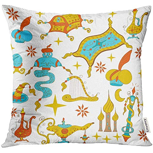 QDAS kussensloop kussensloop sprookjesachtige Aladdin verhaal Jinn Genie Lamp als vliegende tapijt schatkoffers kussenslopen covers voor bank 2 stks