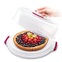 metaltex 23.51.80 porta torte con coperchio regolabile, bianco, 36x36x15/22h