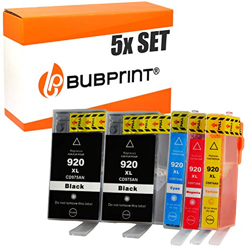 5 Bubprint Druckerpatronen kompatibel für HP 920 XL 920XL für OfficeJet 6000 6500 6500A Plus 7000 Special Edition 7500A Wireless Schwarz Cyan Magenta Gelb Multipack