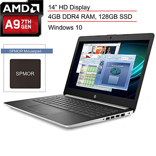 "(Renewed) HP 14 14.0"" Micro-Edge Laptop Computer, AMD A9-9425 3.10GHz Processor, 4GB DDR4 RAM, 128GB SSD, 802.11AC WiFi, Bluetooth 4.2, USB 3.1, HDMI, Webcam, Silver, Windows 10, SPMOR Mouse Pad"