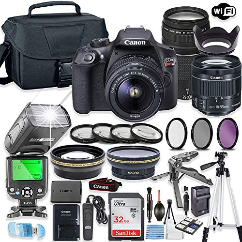Find Bargain Canon EOS Rebel T6 Camera w/Canon EF-S 18-55mm is II Lens & 75-300mm f/4-5.6 III Lens +...