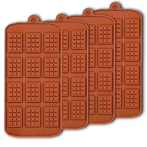 4pcs Waffle Moldes de chocolate, moldes de hornear de bricolaje reutilizables antiadherentes para la bandeja de cubitos de hielo Candy Chocolate Herramienta de cocina