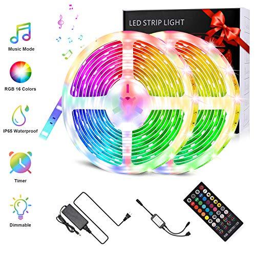 FYLINA LED Streifen 10M, LED Strips LEDs Lichtband LED Musik Bänder RGB IP65 Wasserdicht Flexibles 5050 Dimmbar mit 40 key Fernbedienung Selbstklebende Lichtleiste für Party Weihnachten 2x5M